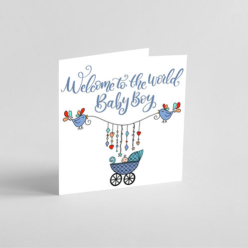 Handmade Baby Boy Card-cute birds holding a mobile over a pram.