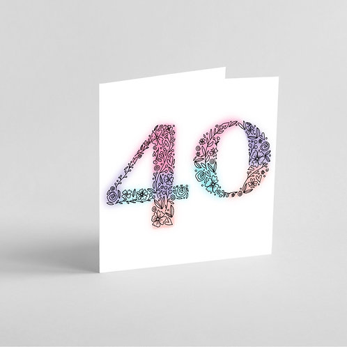 Handmade 40th Birthday Card. Intricate Patterns in the Shape of Number 40.