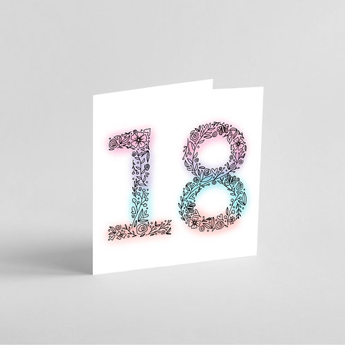 Homemade 18th Birthday Card. Intricate Patterns in the Shape of Number 18.