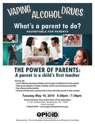Opioid May 2019 Flyer Parent Roundtable