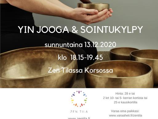 YIN JOOGA & SOINTUKYLPY SUNNUNTAINA 13.12. KLO 18.15-19.45