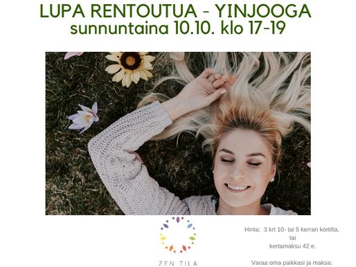 Lupa rentoutua – YinJooga -workshop SUNNUNTAINA 10.10.2021 klo 17-19