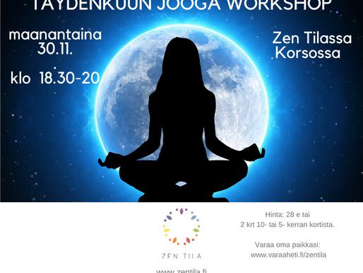 TÄYDENKUUN JOOGA WORKSHOP MAANANTAINA 30.11. KLO 18.30-20.00