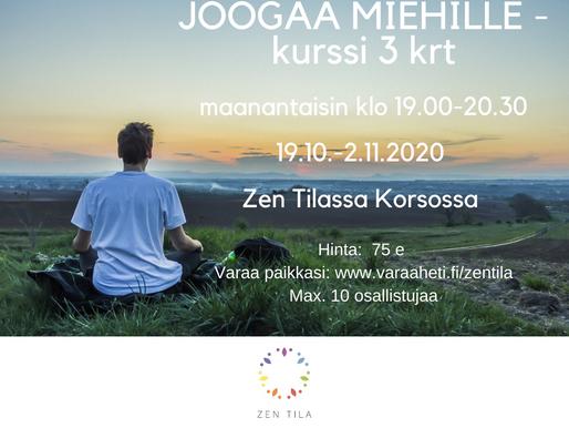 JOOGAA MIEHILLE - ALKEISKURSSI 19.10 – 2.11. (3 krt) maanantaisin klo 19.00-20.30