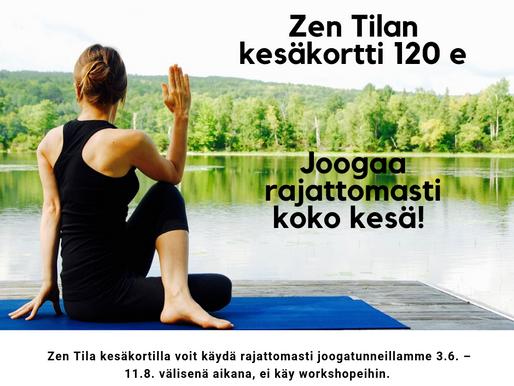 Joogaa koko kesä 120 eurolla - Zen Tilan kesäkortilla!