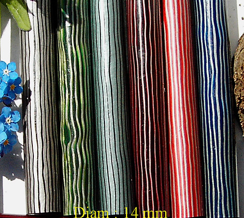 4 Rods **  COLOR  STRIATED **Diam 14 mm