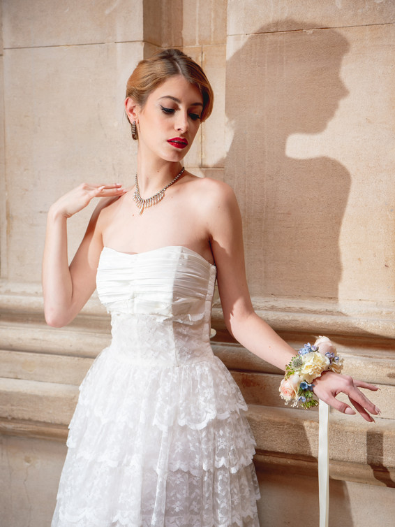 1950s Tiered Lace Wedding Dress