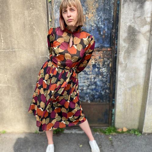 1970s Leaf Print Dress