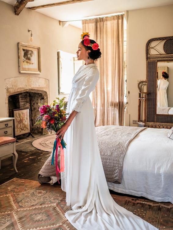 1970s Crepe Vintage Wedding Dress