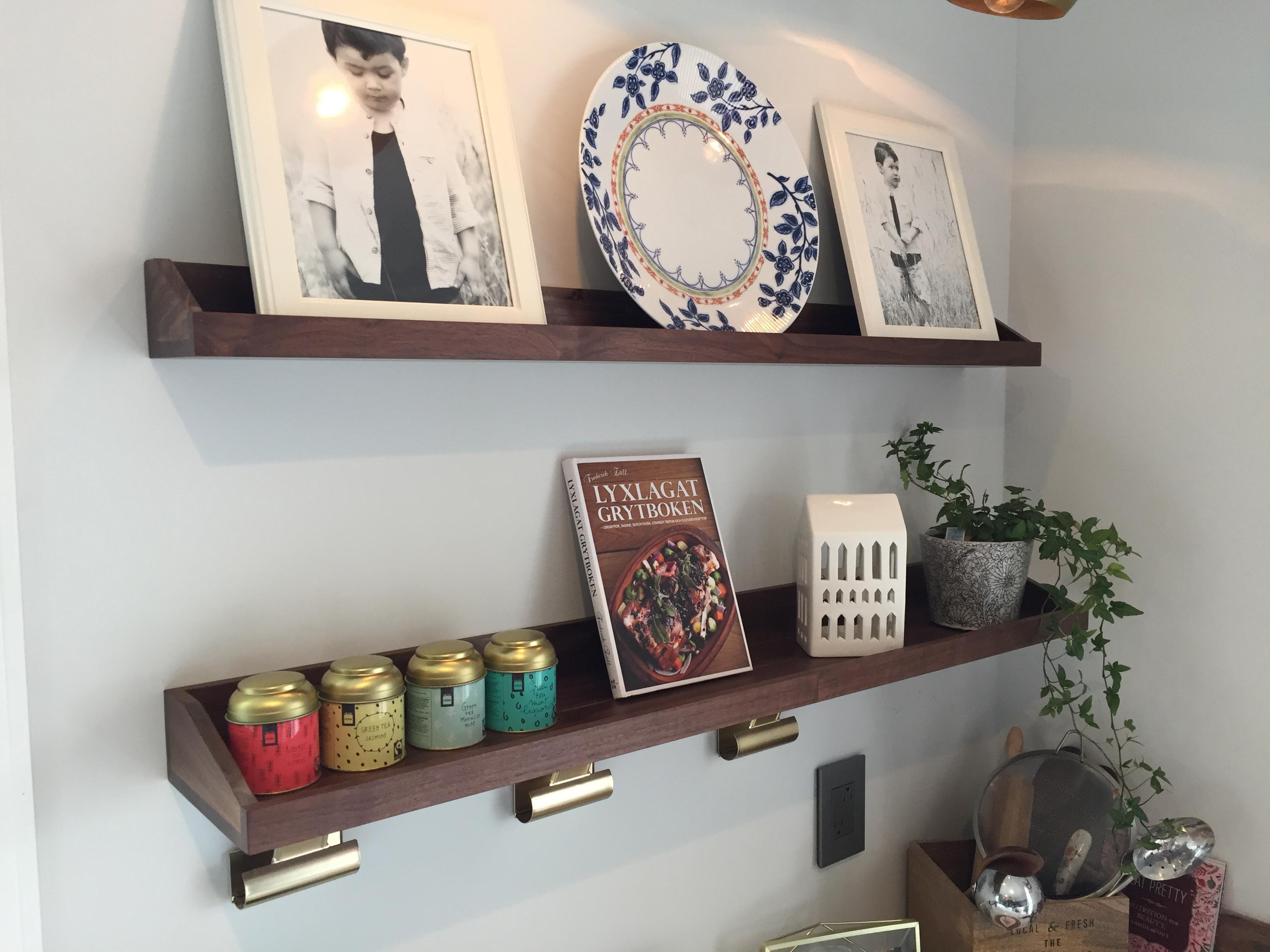 Walnut display shelves