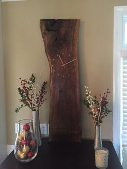 Live edge walnut slab clock