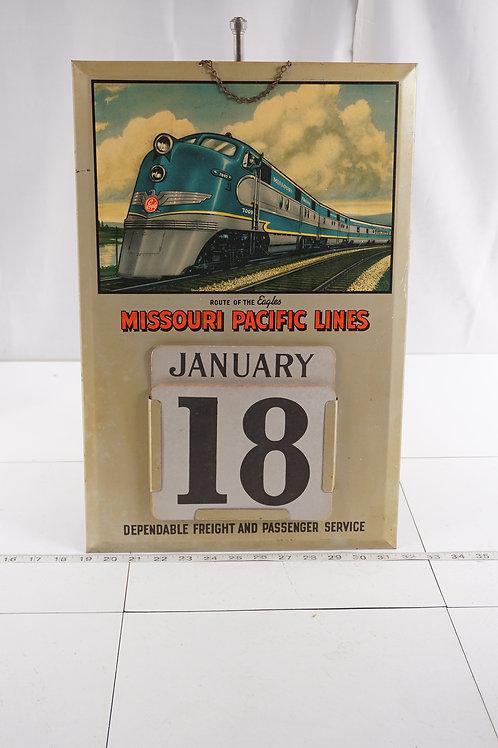 Missouri Pacific Lines Metal Advertising Calendar Sign - Rou