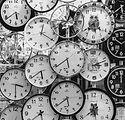 Canva - Black And White Photo Of Clocks.