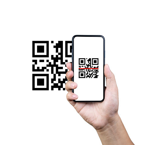 Scanning QR code with mobile smart phone. Isolated on white background._Qr code payment, E