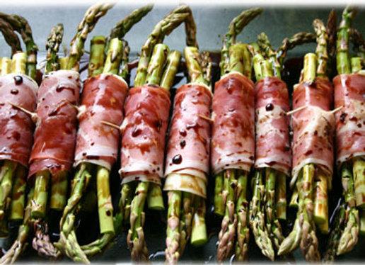 Verse groene asperge met serano ham en balsamico per 8 stuks