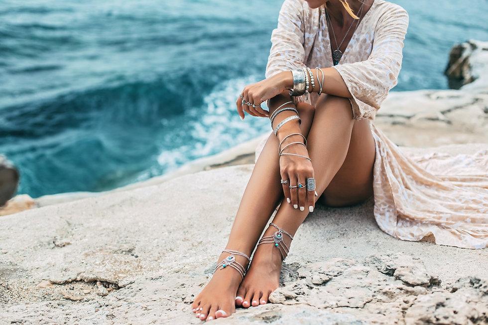 Boho styled girl wearing indian silver j