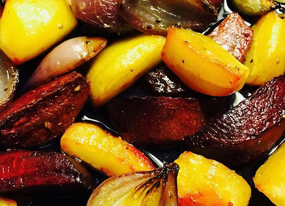 Geroosterde groenten met kruiden dip