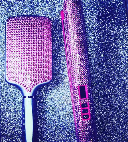 Pink Glam Flat Iron and Glam Brush