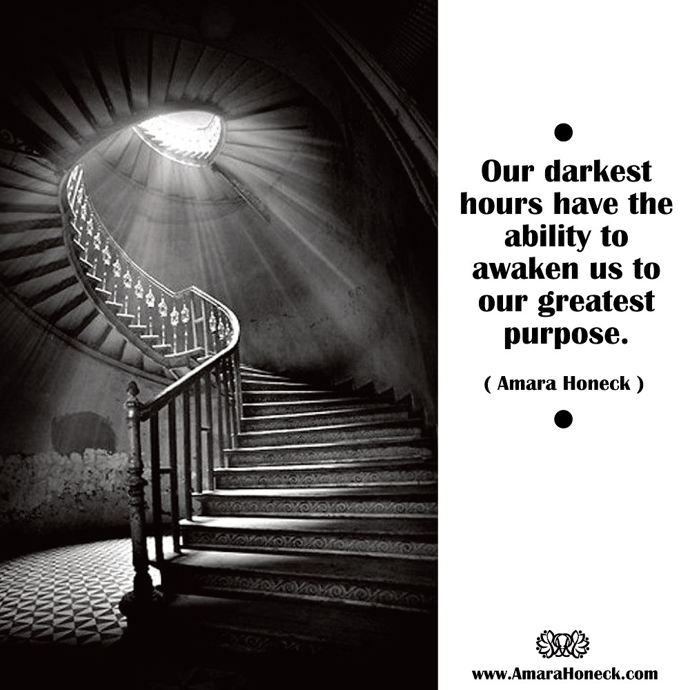 Dark Stairway Lit Overhead | Spiritual Growth Article | Amara Honeck | Tennessee Shaman Consciousness Exploration Teacher