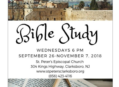 Bible study returns Wednesday September 26, 6pm