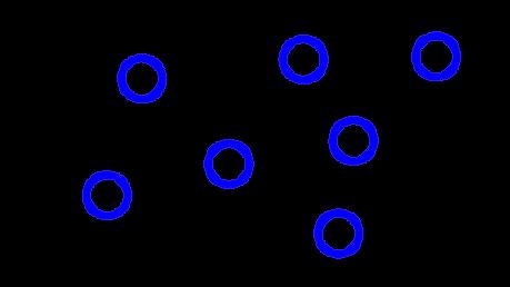 Draw a diagram to represent molecules of a gas.