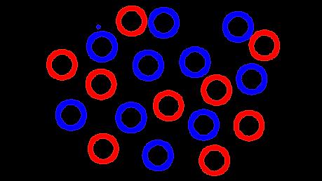 Draw a diagram to represent molecules of a liquid that has 2 types of molecules.