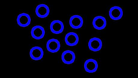 Draw a diagram to represent molecules of a liquid.