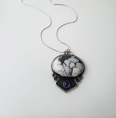 howlite and amethyst pendant