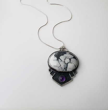 howlite and amethyst pendant