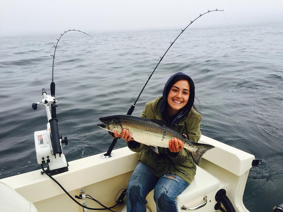 Chef Bree catching salmon!