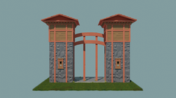 Cartoon Japanese Towers Front View