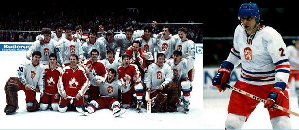 Team Czechoslovakia - World Champúion 1985 and Ivan Hlinka, captain of national team and its famous coach later