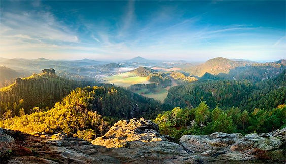 Landscape of Bohemian Middle-Highlands (North Bohemia), Czechia