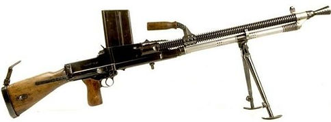 ZB vz.26 - Czech light machine gun developed in the 1920s, which went on to enter service with several countries. It saw its major use during World War II, and spawned the related versions 27, 30, & 33. It influenced many other light machine gun designs including the Bren machine gun and the Type 96 Light Machine Gun. It is famous for its reliability, simple components, quick-change barrel and ease of manufacturing. In the Czechoslovak army the gun was marked as the LK vz. 26. Czechia