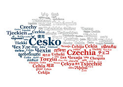 Czechia map by names in various languages