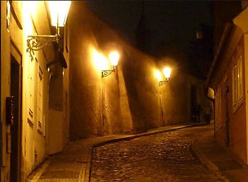Night lanes in Lesser Town, Prague, Czechia