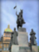 The sculpture of St.Wenceslas and other four main Czech saint patrons  by J.V.Myslbek, art of Czechia