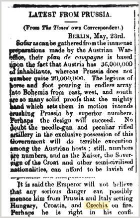 Czechia in Australian press 1866