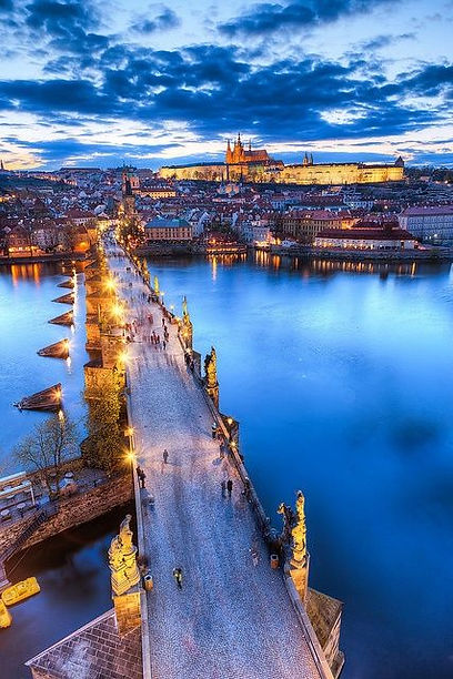 Charles Bridge, Lesser Town and Prague castle in the evening, Prague, Czechia