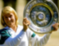 Martina Navrátilová with Wimbledon Trophy for women in single