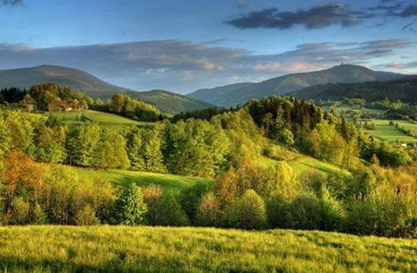 Jizerské mountains with Ještěd peak in North Bohemia, Czechia