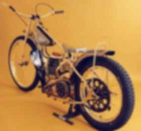 Multiple World champion Ivan Mauger's golden JAWA speedway bike from Divišov (Central Bohemia), Czechia