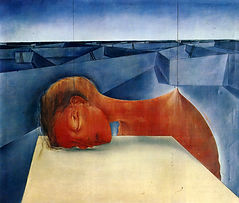 Mikuláš Medek - The head sleeping an imperialistic dream (1953) art of Czechia