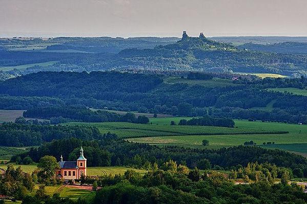Trosky castle in the landscape of Bohemian Paradise, Czechia