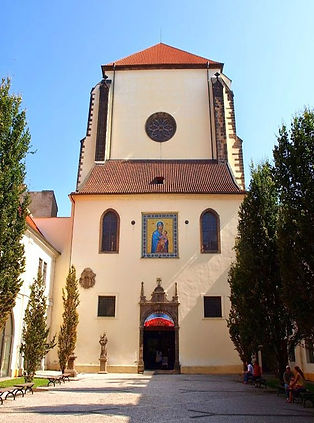 Entrance of The church of The Snowy Virgin Mary in Prague, Czechia