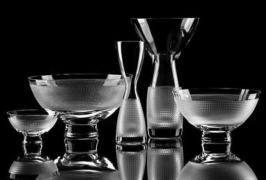 Modern crystal glass set from Dubí in North Bohemia, Czechia