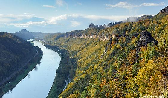The valley of Labe river in Děčín rocks region (North Bohemia), Czechia