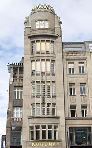 Late Art-Nouveau palace Koruna at Wenceslas Square, Prague, Czechia