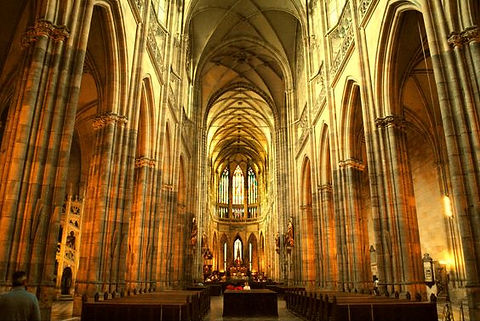 St.Vitus, Wenceslas & Adalbert cathedral - the nave and apse, Prague, Czechia