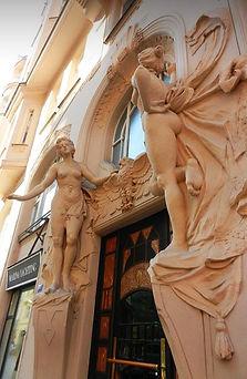 Art Nouveau house entrance at Josefov, Old Town, Prague, Czechia